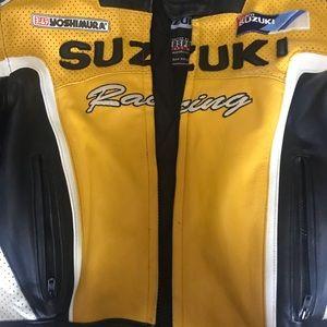 Suzuki Black Motorcycle Racing Leather Jacket